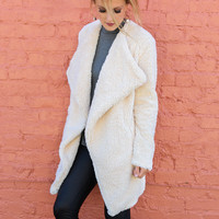 Chateau Luneville Cream Fluffy Double Breasted Coat