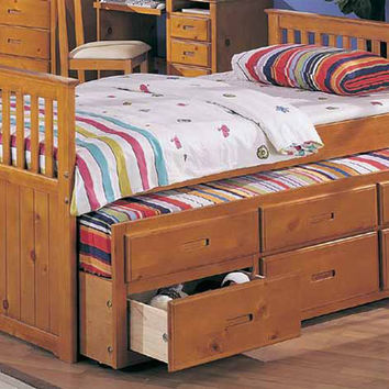 Captains collection Mission style oak finish wood twin size storage trundle bed