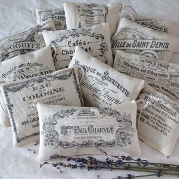 Set of 12 Lavender Sachets Vintage Advert Labels