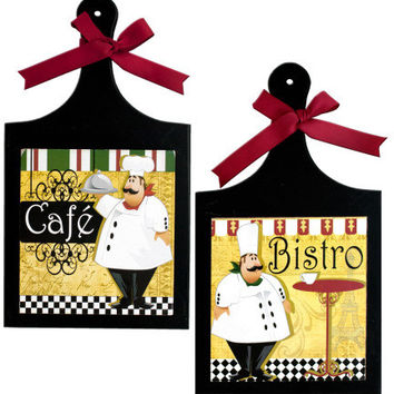 French Chef Wall Plaque Case Pack 4