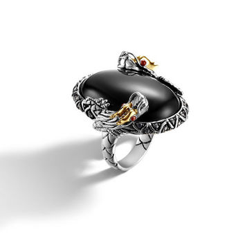 John Hardy naga collection oval double dragon head ring