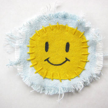 Cute Yellow Smiley Face Patch -- Hand Painted, Hand Stitched on Acid Washed Denim