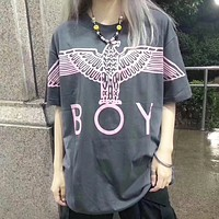 London Boy New fashion letter eagle  print couple top t-shirt Gray