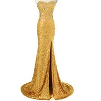 Sarahbridal Womens Mermaid High Split Sequins Evening Dress Prom Gown SD114