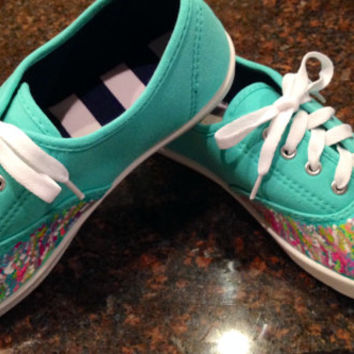 Hand painted sneakers in a Lilly Pulitzer like design.