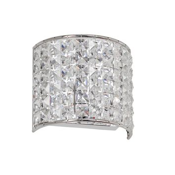 Dainolite 1 Light Crystal Bathroom Wall Sconce with Polished Chrome Finish