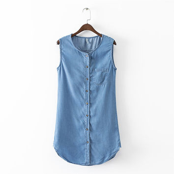 women classic blue denim sleeveless shift dress o-neck summer ladies fashion pocket buttons casual mini dresses QZ2406
