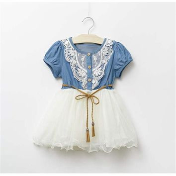 Dress For Girls New Baby Girl Clothes Denim Lace Dresses Tops White Children Tutu Dress Sundress Baby Clothes