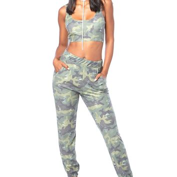 Distressed Camouflage Pants