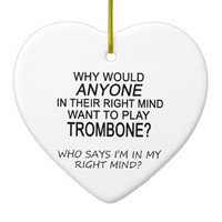 Right Mind Trombone Double-Sided Heart Ceramic Christmas Ornament