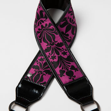 Deep Fuchsia Damask Camera Strap