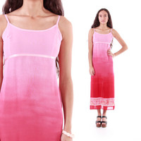 Pink Red Ombre Maxi Slip Dress 90s Boho Chic Hippie Vintage Clothing Womens Size Small