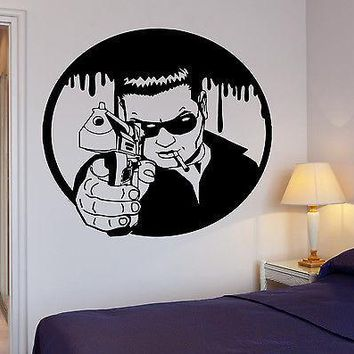 Wall Sticker Mafia Man With Gun Killer Gunman Gangster Pop Art Unique Gift (z2598)