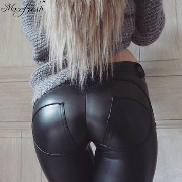 MaxfreshAutumn Winter women leather pants High Waisted elastic shiny trousers slim female pencil leather pants women pantalon fe