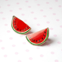 Watermelon earrings, summer red fruit  earrings, polymer clay fruit earrings, resin copper jewelry