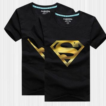 The New Summer Half Sleeve Cartoon Superman Bronzing Close Friend Couples Dress Men Short Sleeve Cotton T Shirt Class Service = 1946670724