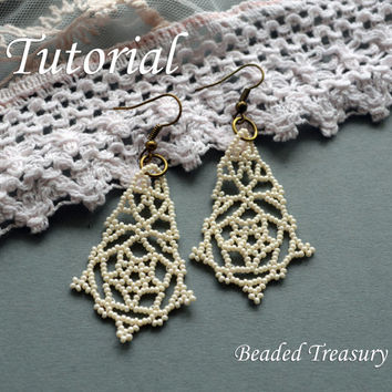 Pearly Lace - beadweaving earrings tutorial / Beading tutorial / Earring tutorial / Beading pattern / Beaded earrings / TUTORIAL ONLY