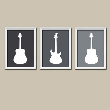 GUITAR Charcoal Gray Custom Colors Artwork Set of 3 Trio Prints WALL Art Baby Decor Child NURSERY Picture Boy Bedroom