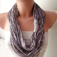 Jersey scarf, Jersey necklace, infinity eternity loop, multistrand necklace, Gray scarf