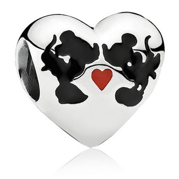 Mickey Mouse Minnie Mouse  European Kiss Love Heart Cartoon Charm Beads Charm Fit Women Pandora Jewelry