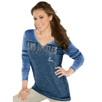 Touch by Alyssa Milano Los Angeles Lakers Ladies Gridiron Long Sleeve Tri-Blend V-Neck T-Shirt - Royal Blue