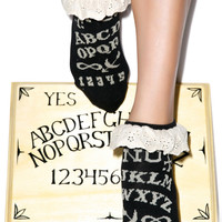 Too Fast Ouija Eyelet Ankle Sock Black One
