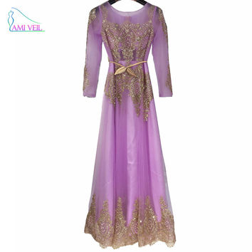 Robe De Soiree Purple Pink Gold Beaded Sparkly Long Sleeve Dubai Muslim Evening Dresses Mother of the Bride Formal Prom GownGT77