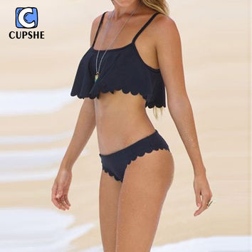 Cupshe 2016 New Style Black Scalloped Edge Overlay Top Women Bikini Sexy Polyester Bikini Sets Beach Wear  Biquini