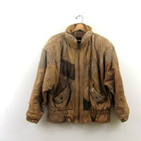 Vintage brown leather bomber jacket / puffy leather coat coat // XL