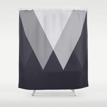 Sawtooth Inverted Blue Grey Shower Curtain by Trevor May