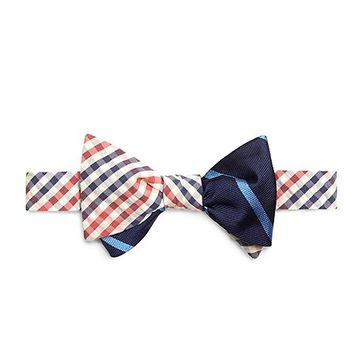 Men's Red Seersucker Check with Navy and Light Blue BB#3 Repp Stripe Reversible Bow Tie