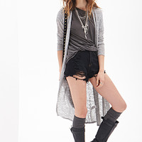 FOREVER 21 Marled Knit Maxi Cardigan Grey/Black