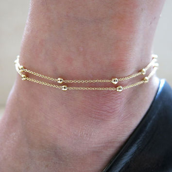 Cute Shiny New Arrival Gift Sexy Jewelry Ladies Fashion Accessory Stylish Double-layered Simple Design Anklet [6768763527]