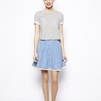 New Look Crochet Button Through Skirt