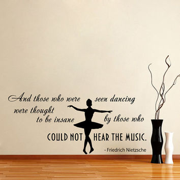 Quote About Dance Life Ballet with Dancer Ballerina Vinyl Decal Home Wall Decor Dance School Studio Stylish Sticker Unique Design Room V507