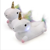 Glowing Unicorn Plush Slippers for Women