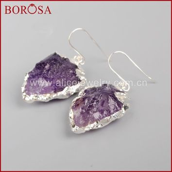 BOROSA 3Pairs Fashion Pure Silver Color Arrowhead Shape 100% Raw Natural Purple Crystal Earrings Druzy Drop Earrings SS034