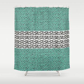 Turquoise River Path Shower Curtain  – Minimal Tribal Design Great for Adult and Kids Bathroom