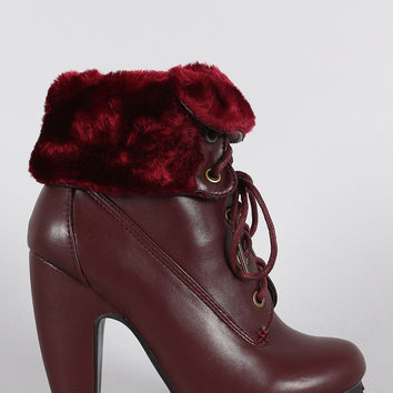 Bamboo Fold-Over Faux Fur Collar Heeled Oxford Booties