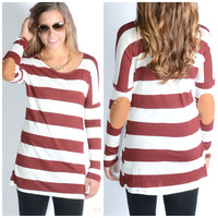 Vertical Limit Burgundy Striped Elbow Patch Top