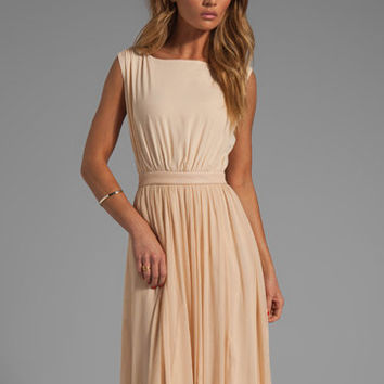 Alice + Olivia Triss Sleeveless Maxi Dress with Leather Trim in Almond Cream from REVOLVEclothing.com