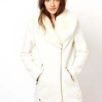 ASOS | ASOS Premium Biker Coat With Detachable Fur Collar at ASOS