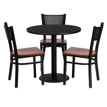 """30"""" Black Round Table Top With Cherry Wood Seat Dining Table - 4PC"""