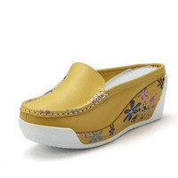 Flower Print Slingback Ladies Casual Shoes