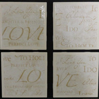 Tile Coaster, Coaster, Bridal Coaster, Wedding Themed Printed Tile Coasters- Set of 4
