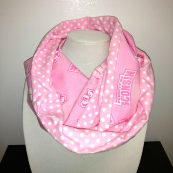 Pink Wisconsin Badgers Infinity Scarf - Ready to Ship, cowl cotton flannel UW Madison student