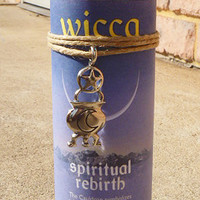 SALE Spiritual Rebirth Wicca Pillar Candle with Amulet spells