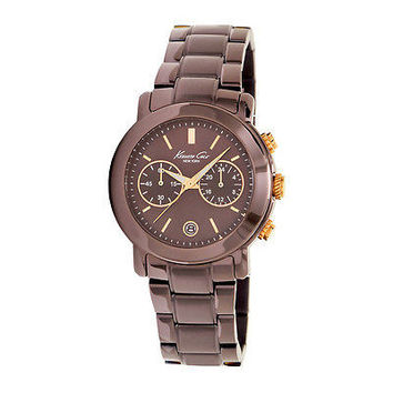 Kenneth Cole New York Women's Watch KC4802 Brown Chronograph Rose Gold Accents