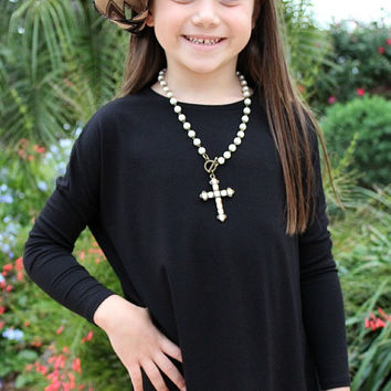 Children's Long Sleeve Piko Top in Black