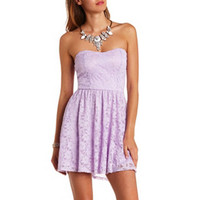 STRAPLESS BOW-BACK LACE SKATER DRESS